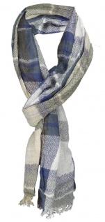 Schal in blau beige schwarz grau weiss kariert mit kleinen Fransen - 180 x 50 cm