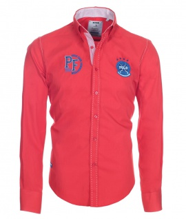 Pontto Designer Hemd Shirt in rot blau weiß langarm Modern-Fit Gr. L