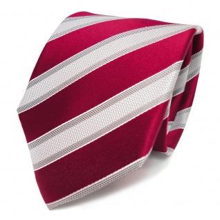 Designer Seidenkrawatte rot rubinrot grau silber gestreift - Krawatte Seide Tie