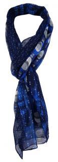 TigerTie Unisex Chiffon Schal in marine royal blau silber anthrazit gemustert