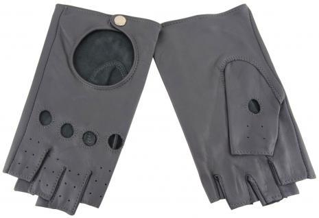 Damen Handschuhe fingerlos - hochwertiges weiches Schafsleder grau - Gr. 7, 0