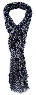 TigerTie Schal marine dunkelblau weiß gemustert - Gr. 180 x 50 cm 100% Baumwolle