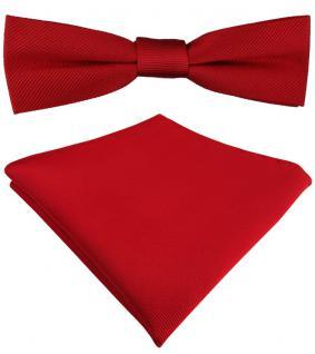 schmale vorgebundete TigerTie Seidenfliege + Seideneinstecktuch in rot Uni Rips