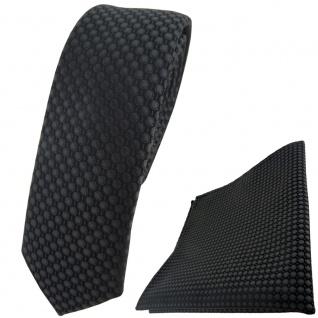 schmale TigerTie Krawatte + Einstecktuch in anthrazit dunkelgrau gepunktet