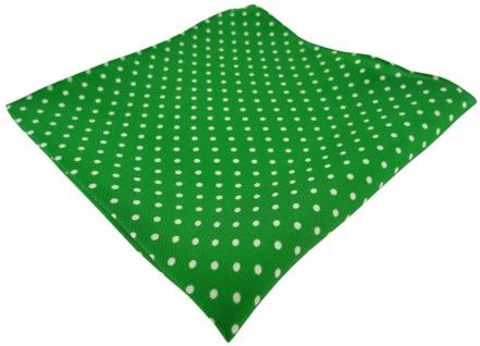 TigerTie Seideneinstecktuch in grün weiss gepunktet - Pochette Tuch 100% Seide