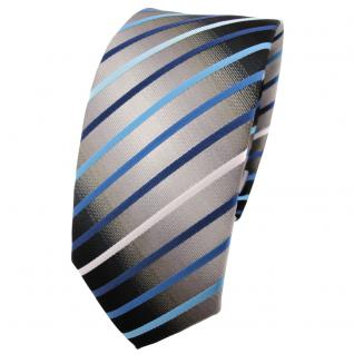 Schmale TigerTie Krawatte türkis blau silber grau weiß schwarz gestreift - Vorschau 1