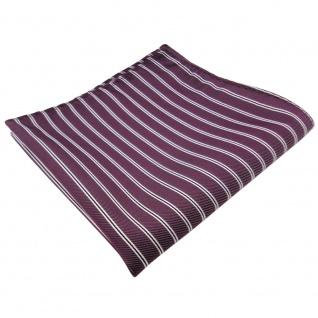 TigerTie Einstecktuch in pflaume violett silberweiß schwarz gestreift - Tuch