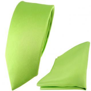 schmale TigerTie Satin Seidenkrawatte + Seideneinstecktuch hellgrün einfarbig