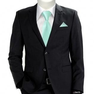 TigerTie Security Sicherheits Krawatte + Einstecktuch in mint grün einfarbig Uni - Vorschau 2