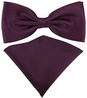 TigerTie Satin Fliege + TigerTie Einstecktuch in bordeauxviolett Einfarbig + Box