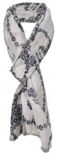 Damen Schal schwarz weiß mit Totenkopf Motiv und kl. Fransen - Gr. 180 x 100 cm