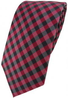 Modische TigerTie Designer Krawatte bordeaux weinrot anthrazit schwarz kariert
