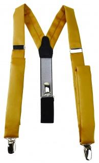 schmaler TigerTie Unisex Hosenträger mit 3 extra starken Clips - in gold Uni
