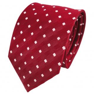 TigerTie Designer Seidenkrawatte rot signalrot weiß gepunktet - Krawatte Seide