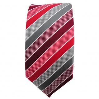 Schmale TigerTie Designer Krawatte rot bordeaux grau silber gestreift - Binder - Vorschau 2