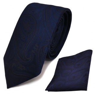 schmale TigerTie Krawatte + Einstecktuch dunkelblau marin schwarz paisley Muster - Vorschau 1