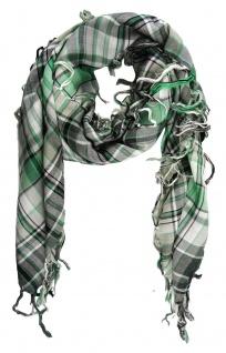 Halstuch in grün grau schwarz silber kariert mit Fransen - Gr. 100 x 100 cm