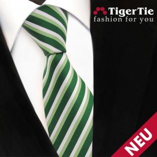TigerTie Designer Krawatte grün hellgrün silber gestreift - Vorschau 3