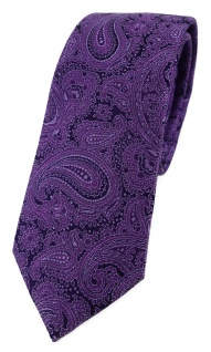 schmale TigerTie Designer Seidenkrawatte in lila schwarz Paisley gemustert