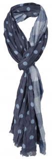 gecrashter 2 in 1 Schal in blau hellblau gepunktet und kariert - Gr. 180 x 40 cm