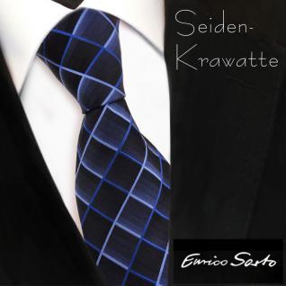 Enrico Sarto hochwertige Seidenkrawatte blau dunkelblau kariert - Krawatte Seide