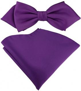vorgebundene TigerTie Spitzfliege + Einstecktuch in lila Uni einfarbig + Box