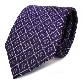 Designer Seidenkrawatte lila schwarz kariert - Krawatte Seide Schlips Tie