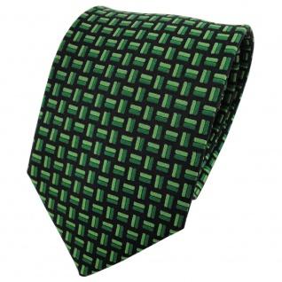 TigerTie Seidenkrawatte grün grasgrün schwarz gemustert - Krawatte 100% Seide