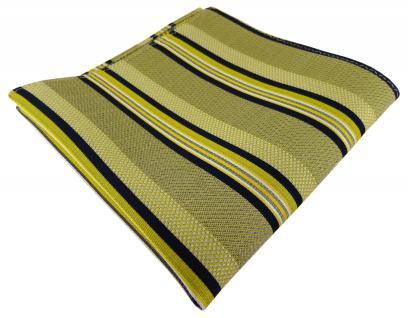 TigerTie Seideneinstecktuch gelb schwarz silber weiss gestreift - Gr. 30 x 30 cm