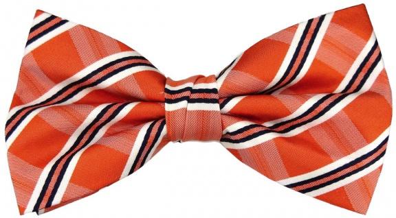TigerTie Designer Seidenfliege orange silber schwarz gestreift - Fliege Seide