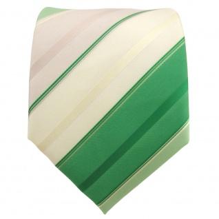 TigerTie Krawatte grün laubgrün grasgrün beige champagner gestreift - Binder Tie - Vorschau 2