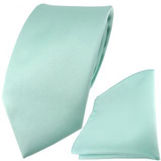 TigerTie Satin Krawatte + TigerTie Einstecktuch in mint grün Uni einfarbig