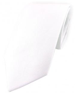 TigerTie Designer Krawatte in weiss Uni - 100% Baumwolle - Krawattenbreite 8 cm
