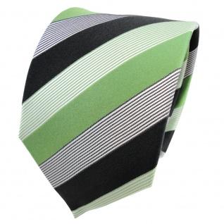 TigerTie Seidenkrawatte grün anthrazit schwarz weiß gestreift - Krawatte Seide