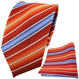 TigerTie Designer Krawatte + Einstecktuch rotorange dunkelorange blau gestreift