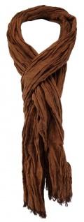 TigerTie - gecrashter Schal in rostbraun einfarbig - Gr. 180 x 50 cm