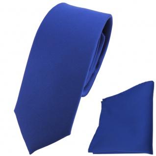 schmale TigerTie Satin Krawatte + Einstecktuch Satin blau uni - Schlips Binder