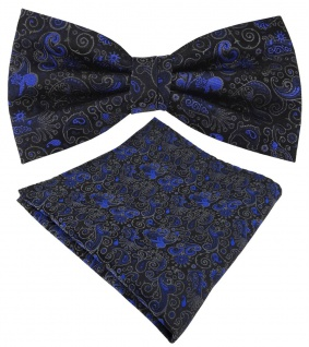TigerTie Seidenfliege + Einstecktuch blau anthrazit schwarz gemustert Ornamente