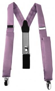 schmaler TigerTie Unisex Hosenträger mit 3 extra starken Clips - in flieder Uni