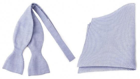 TigerTie Designer Selbstbinder Pique + Einstecktuch blau-weiss gemustert + Box