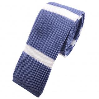 Schmale Strickkrawatte blau fernblau weiß gestreift - Krawatte Polyester Tie