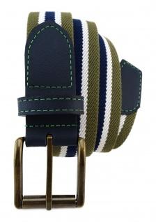 TigerTie - Stretchgürtel oliv grün dunkelblau weiß gestreift - Bundweite 120 cm - Vorschau 2