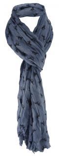 gecrashter TigerTie Schal in blau blaugrau schwarz mit Pferdemotiven gemustert