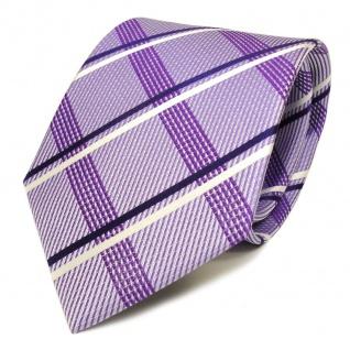 Designer Seidenkrawatte lila flieder blau weiss silber kariert - Krawatte Seide
