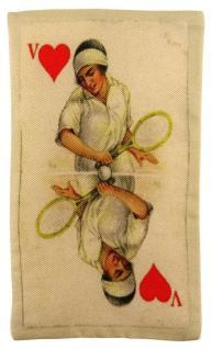 Ziertuch in Seide mit stabiler Einlage - 2er Set Spielkarten beige rot gemustert - Vorschau 2