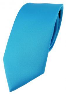 TigerTie Designer Krawatte in türkisblau einfarbig Uni - Tie Schlips