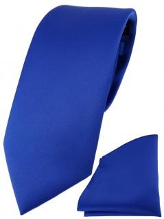 TigerTie Designer Krawatte + TigerTie Einstecktuch in royal einfarbig uni