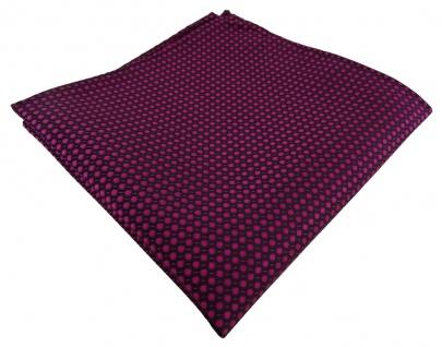 TigerTie Einstecktuch in lila violett purpur schwarz gepunktet - Gr. 30 x 30 cm