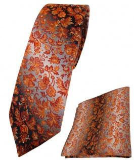 schmale TigerTie Krawatte + Einstecktuch orange grausilber geblümt gemustert