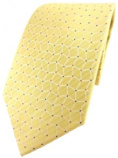 TigerTie Designer Seidenkrawatte in gelb silber blau gemustert - 100% Seide